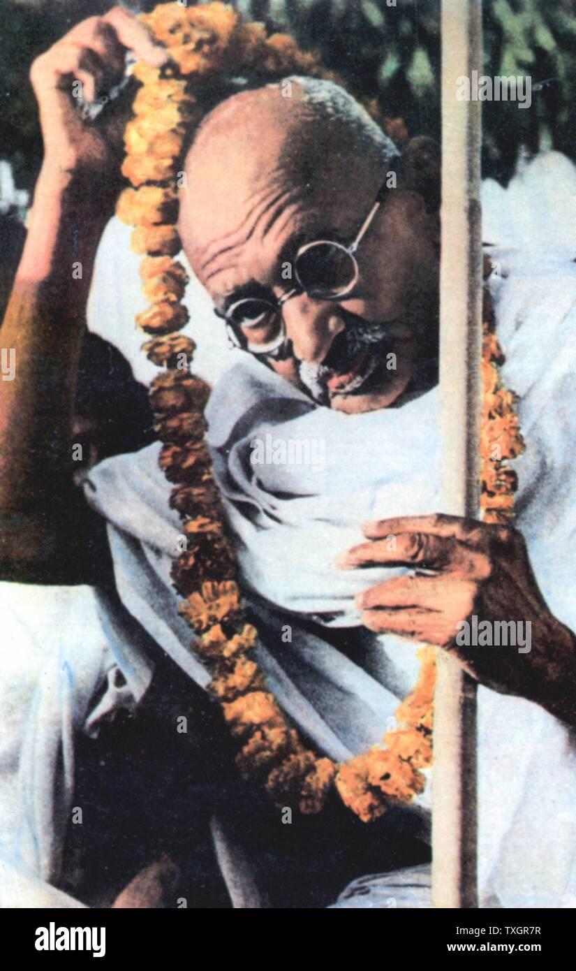 Mohondas Karamchand Gandhi (1869-1948), conocido como el Mahatma (gran alma), líder nacionalista indio Foto de stock