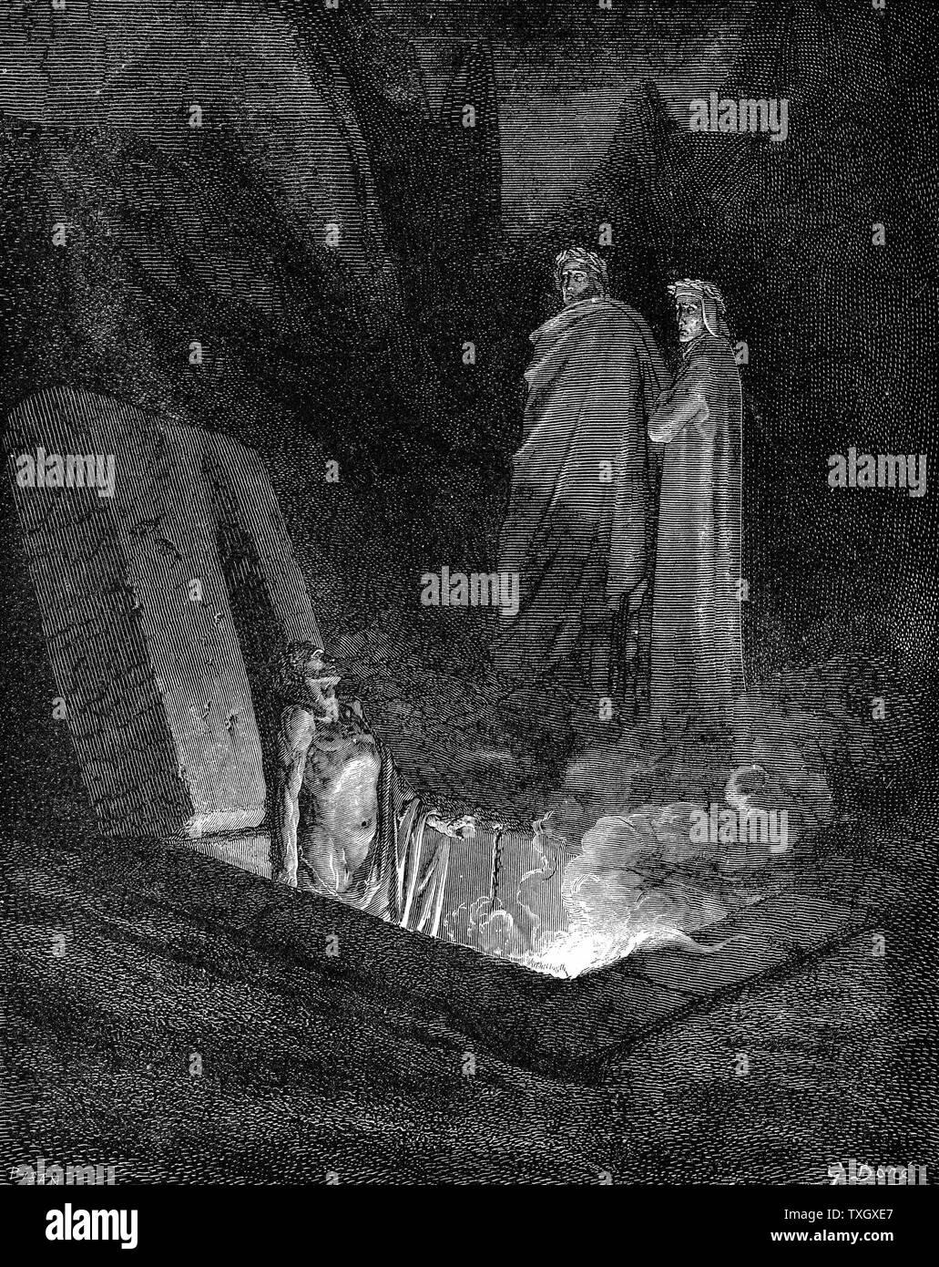 """Dante Alighieri (1265-1321) poeta italiano: 'infierno' la primera parte de su """"Divina Commedia"""" (Divina Comedia) ilustrada por Gustave Doré 1863. Canto X: Dante, manteniéndose cerca de su guía Virgilio, mira uno de los pecadores en el infierno en sus tumbas abiertas. Grabado en madera Foto de stock"""