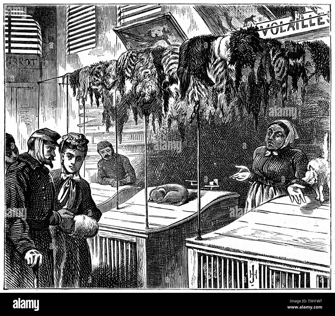 """Guerra Franco-Prusiana 1870-1871: Sitio de París en septiembre de 1870 a finales de enero de 1871. Un mercado en París """"no tenemos más que eso, Señor"""". Ilustración del gráfico, Londres, 15 de febrero de 1871. Grabado Foto de stock"""
