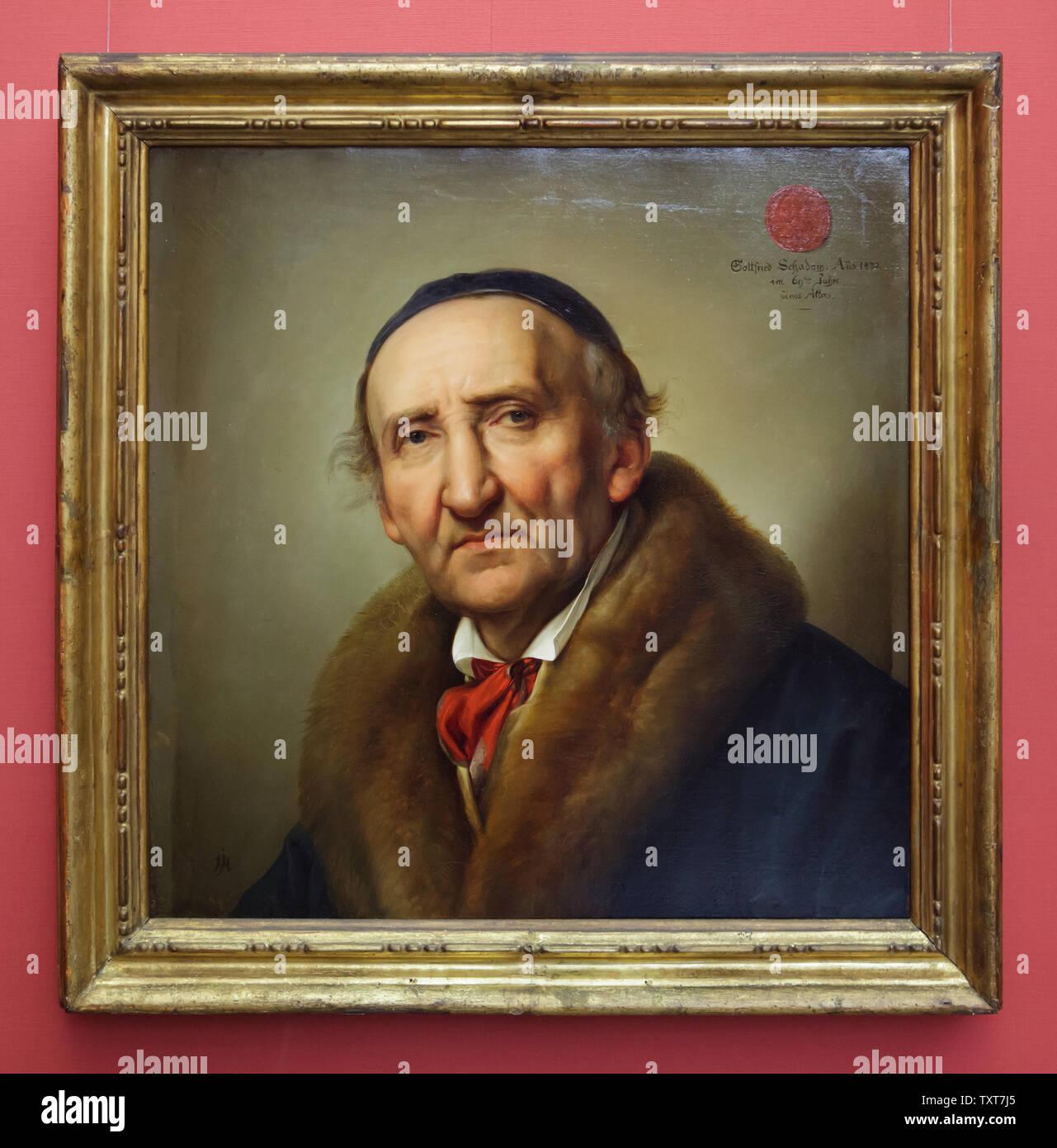 Retrato del escultor alemán Johann Gottfried Schadow por el pintor alemán Julius Hübner (1832) que se muestra en la Alte Nationalgalerie (Antigua Galería Nacional) en Berlín, Alemania. Foto de stock