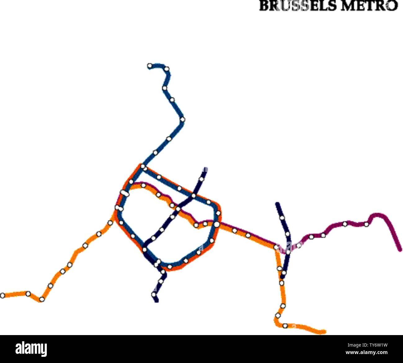 Mapa De Bruselas Metro A Metro La Plantilla Del Sistema De