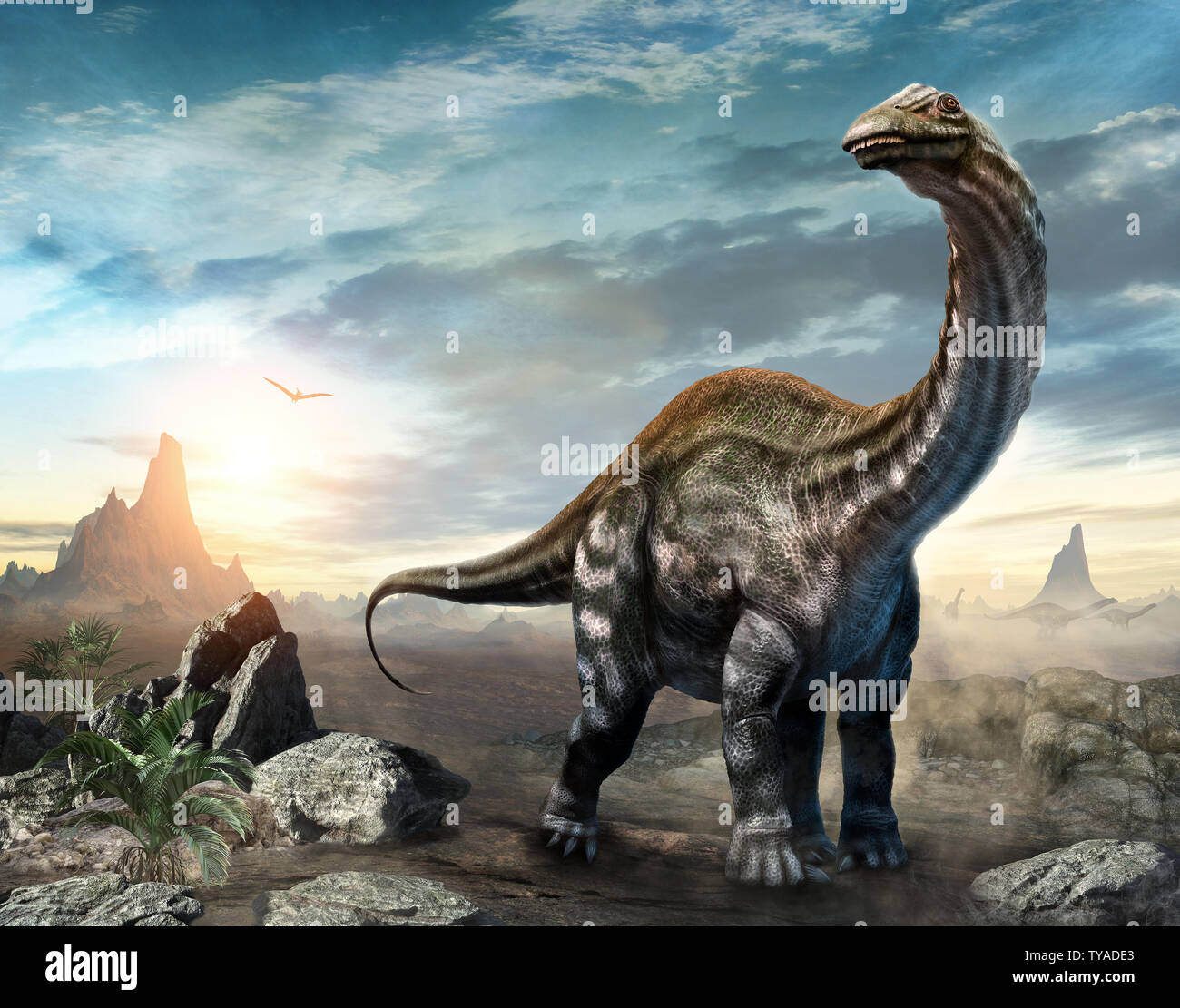 Dinosaurio Apatosaurus escena ilustración 3D Foto de stock