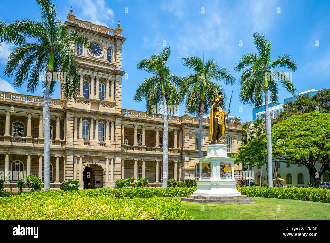 Kamehameha estatuas y Tribunal Supremo estatal, Hawai Foto de stock