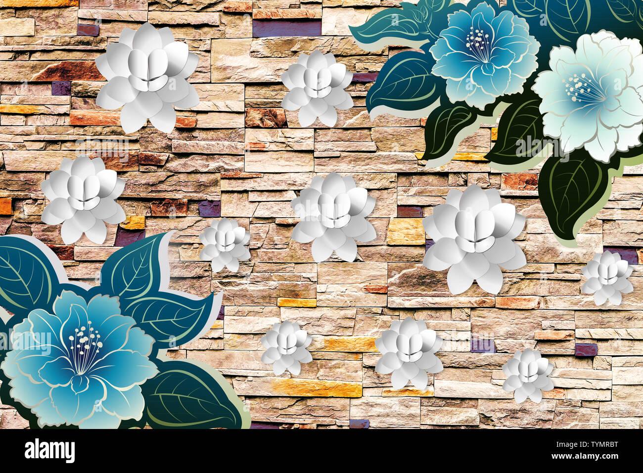 Papel Tapiz De Flores 3d Con Pared De Ladrillos Madera Piedra Y