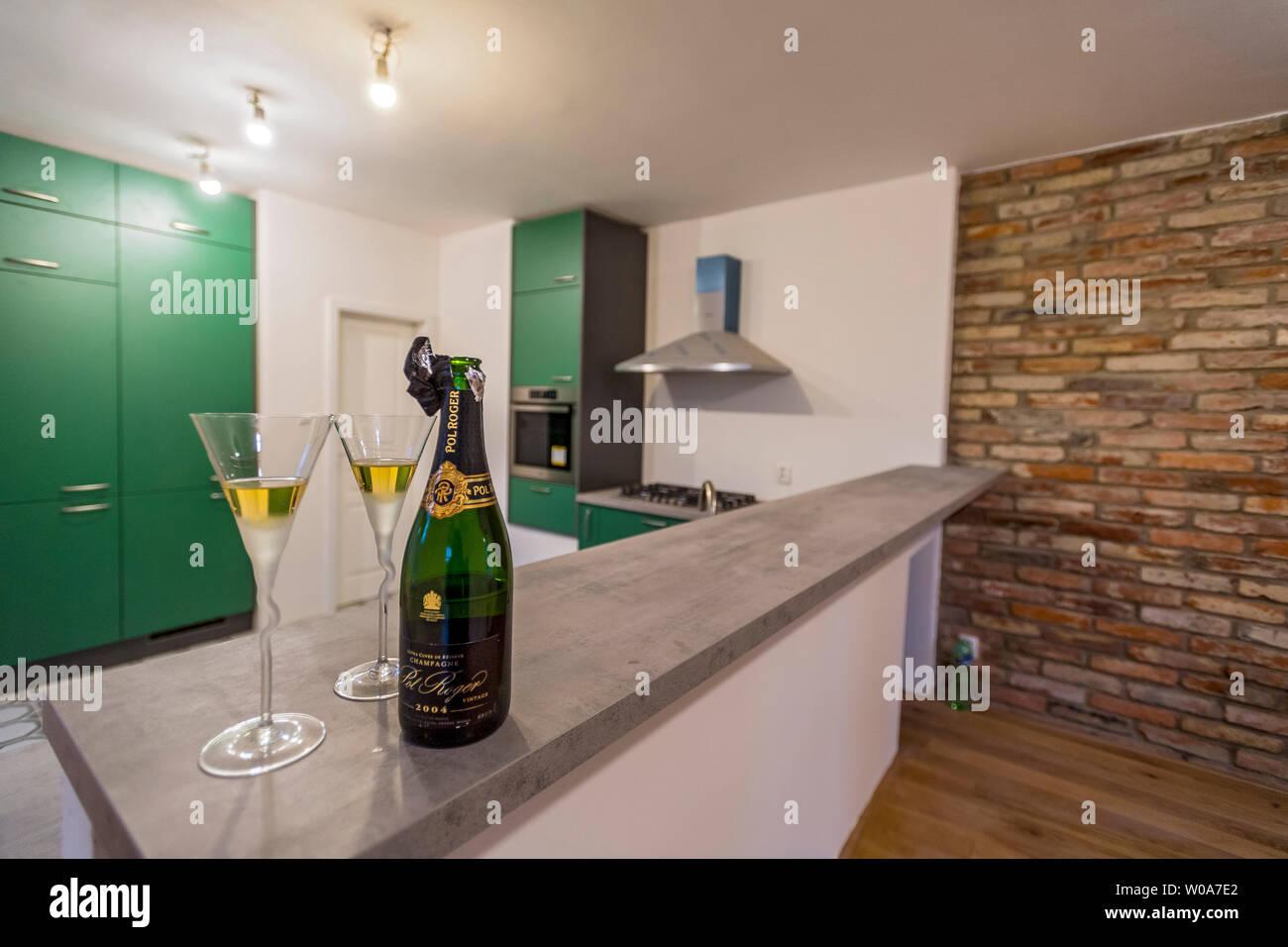 Nuevos muebles de cocina verde con botella de champaña y dos ...