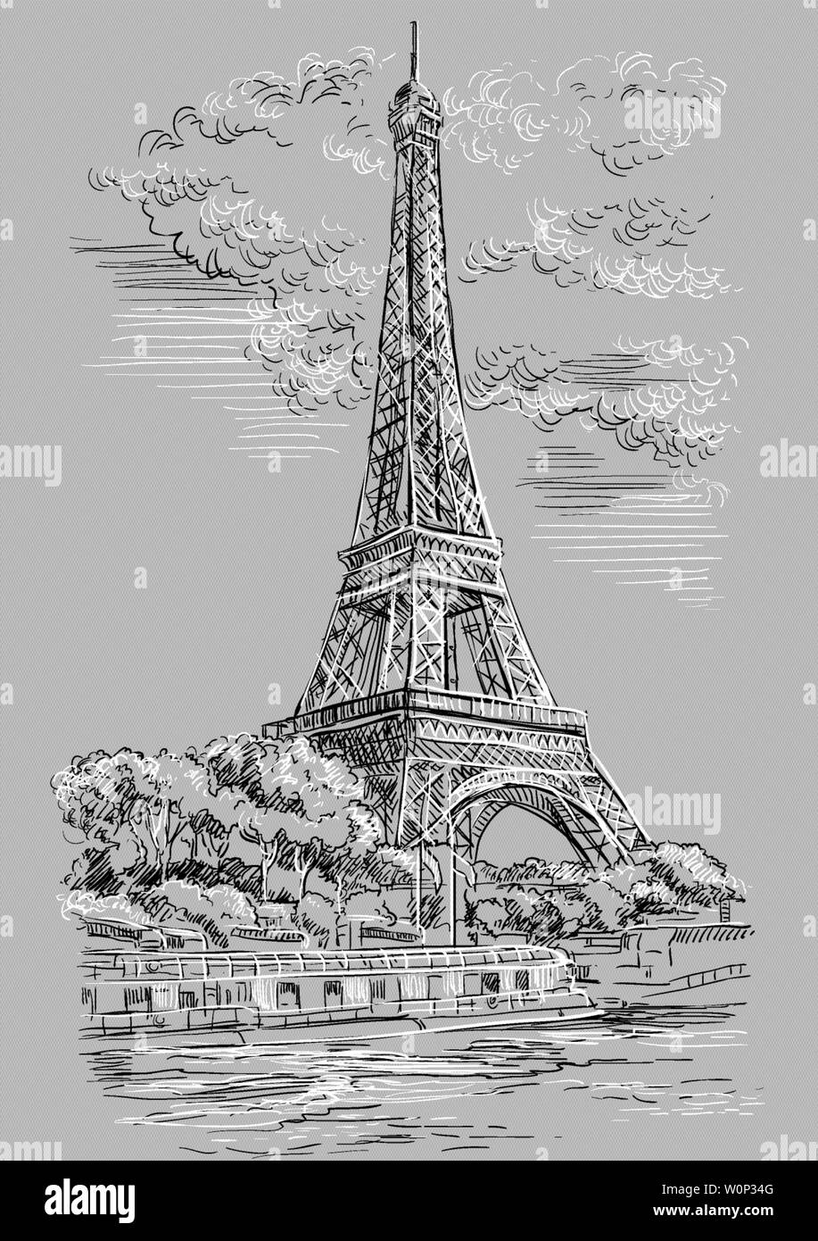 Dibujo A Mano Ilustración Vectorial De La Torre Eiffel París Francia Hito De París Paisaje Con Vista A La Torre Eiffel El Río Sena Terraplén Vect Imagen Vector De Stock Alamy