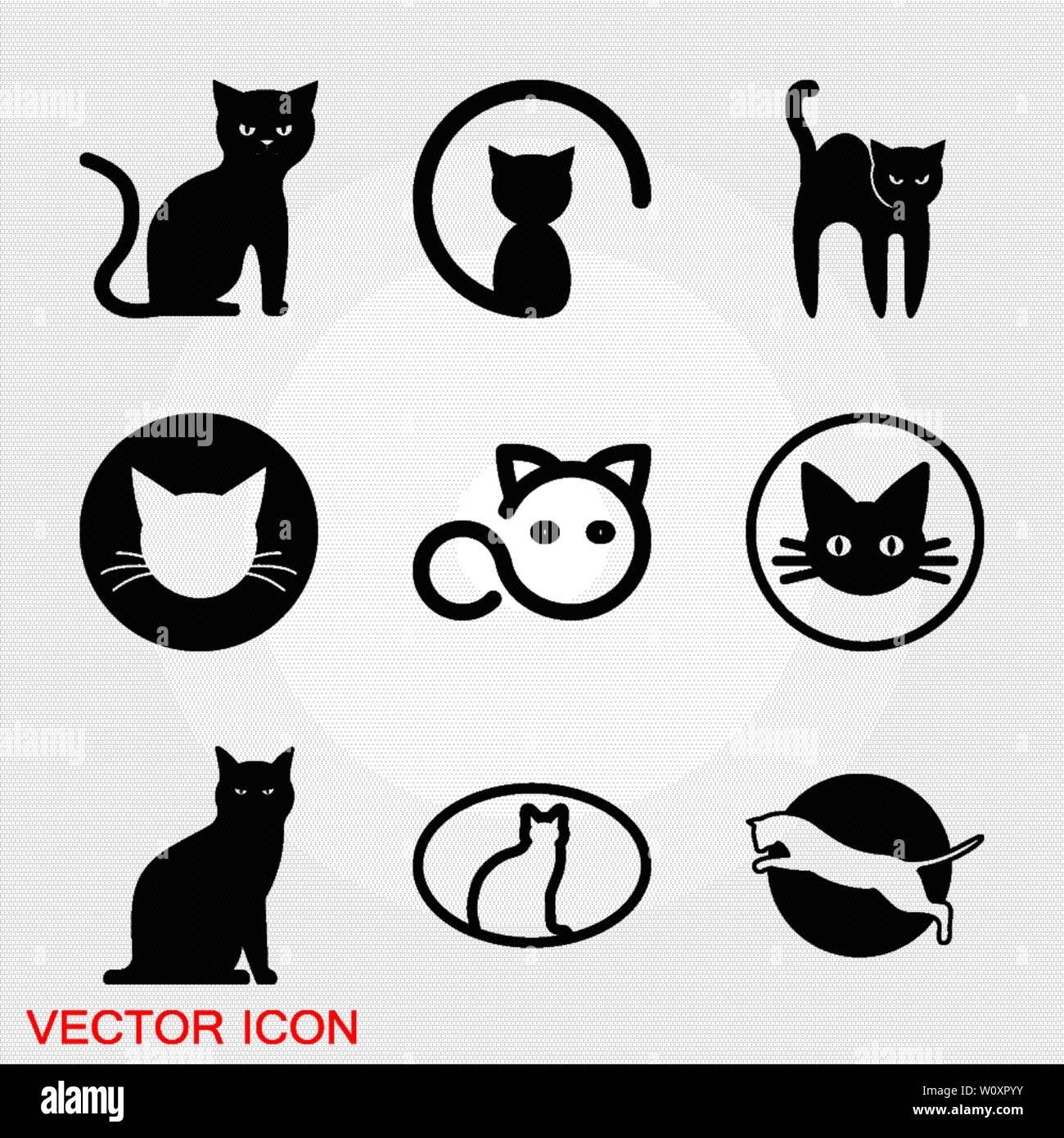 7cae7b7ce Icono de gato. Diseño de logotipo plantilla vectorial estilo plano.Home  clínica veterinaria pet