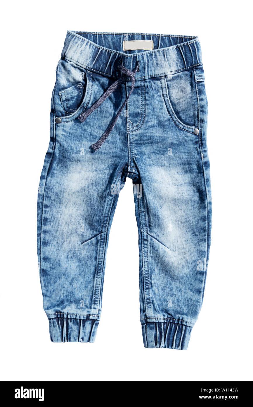 Aislados De Pantalones Vaqueros Azules Sobre Fondo Blanco Jeans De Moda Para Bebe Vista Superior De La Parte Delantera Fotografia De Stock Alamy