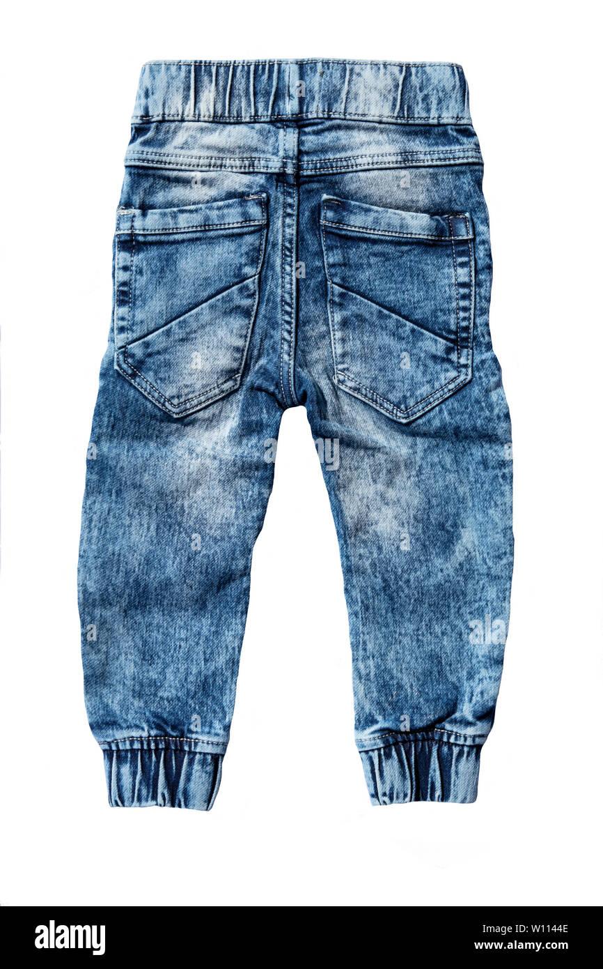 Aislados De Pantalones Vaqueros Azules Sobre Fondo Blanco Jeans De Moda Para Bebe Vista Superior Del Sitio Atras Fotografia De Stock Alamy
