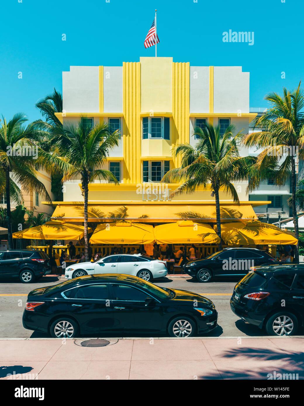 Leslie Hotel en Miami South Beach, Florida, EE.UU. Foto de stock