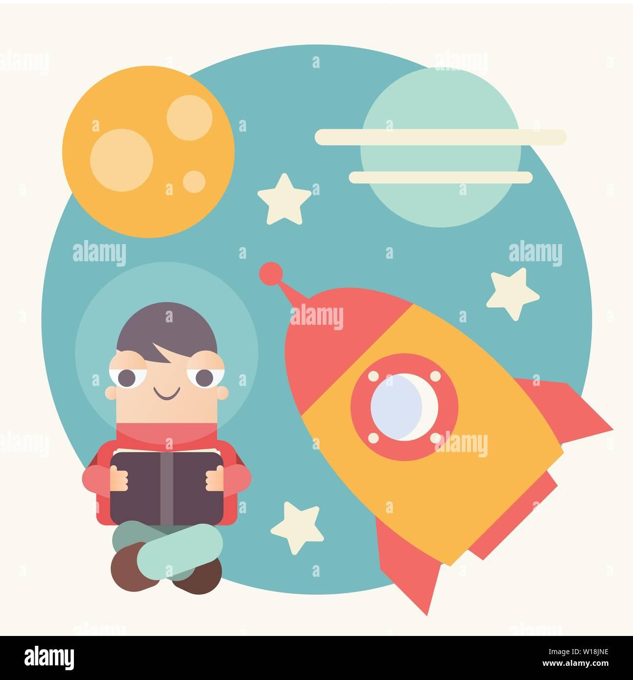 f4544e283f2 Cartoon chico leyendo e imaginarse a sí mismo en el espacio exterior.  Ilustración vectorial.