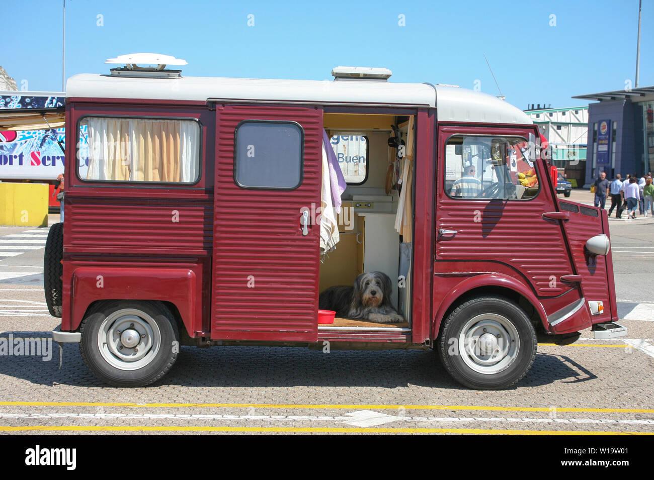 COLLIE barbudo en camper esperando el embarque de ferry Foto de stock