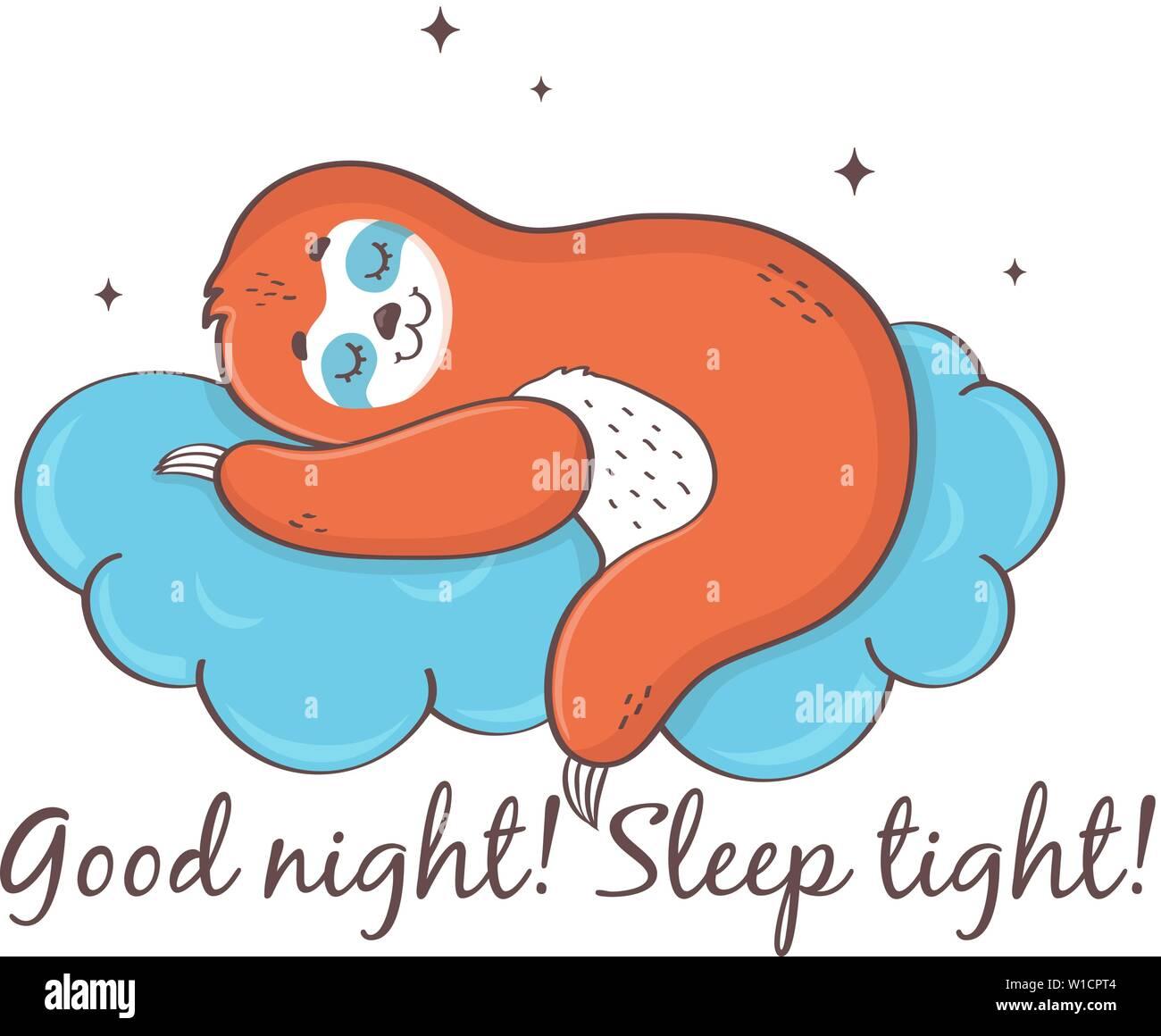 Pereza dormir en una nube. Buenas noches! Duerma bien!! Cute ilustración vectorial aislado sobre fondo blanco. Ilustración del Vector