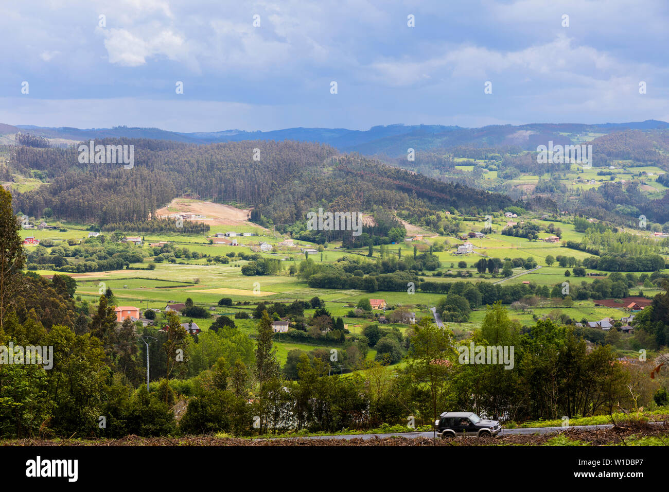 Verde típico paisaje gallego cerca de San Sadurnino, provincia de A Coruña, Galicia, España Foto de stock