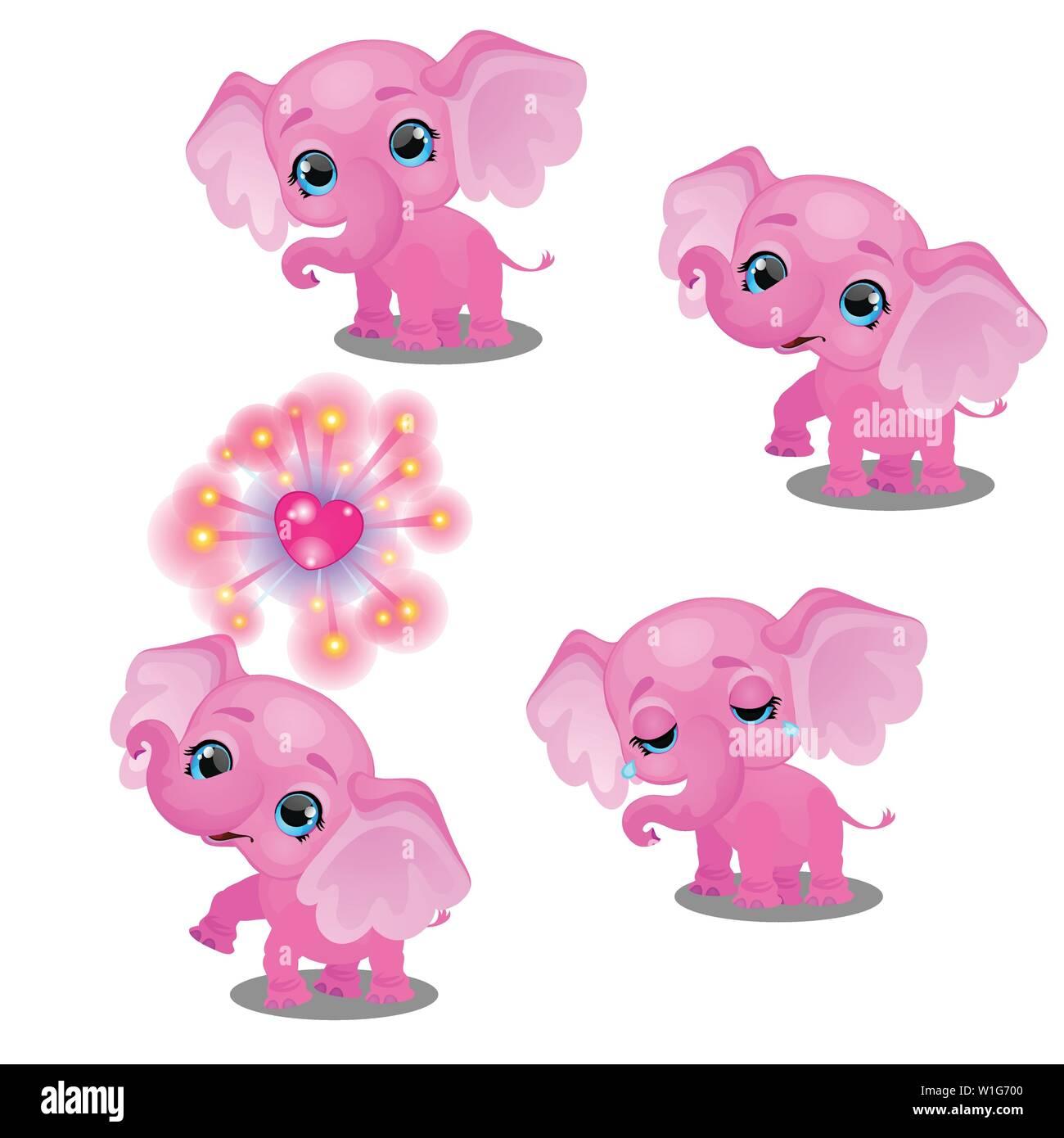 El Conjunto De Emociones Un Poco Animado Pink Elephant