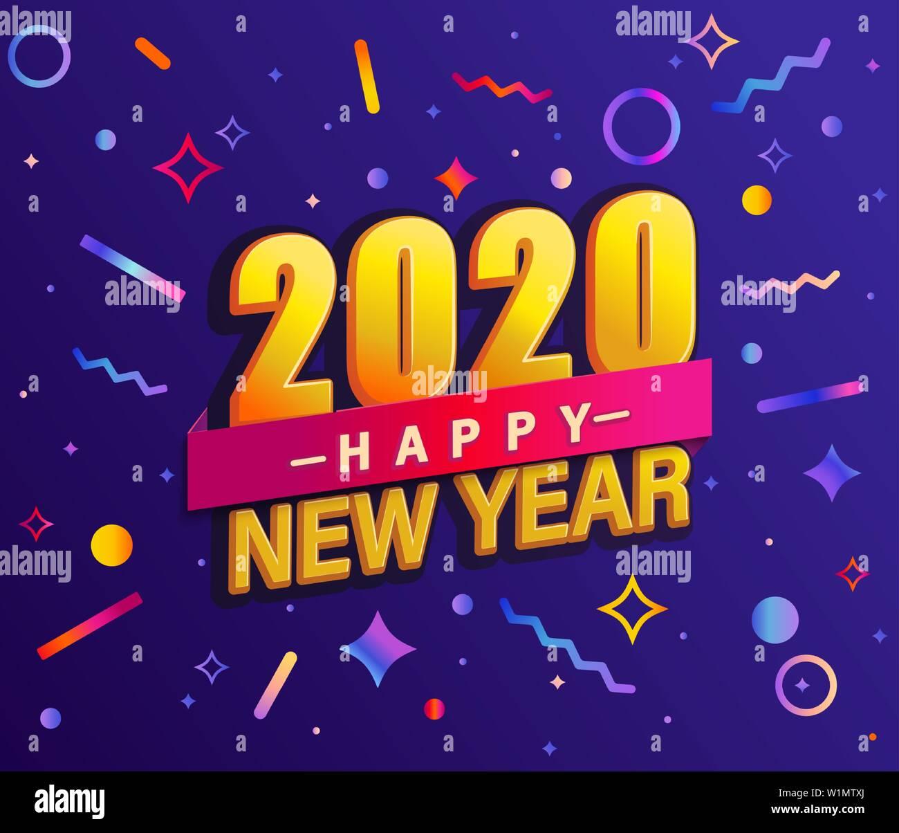 Banner Para Año Nuevo 2020 Tarjeta De Diseño Moderno Un