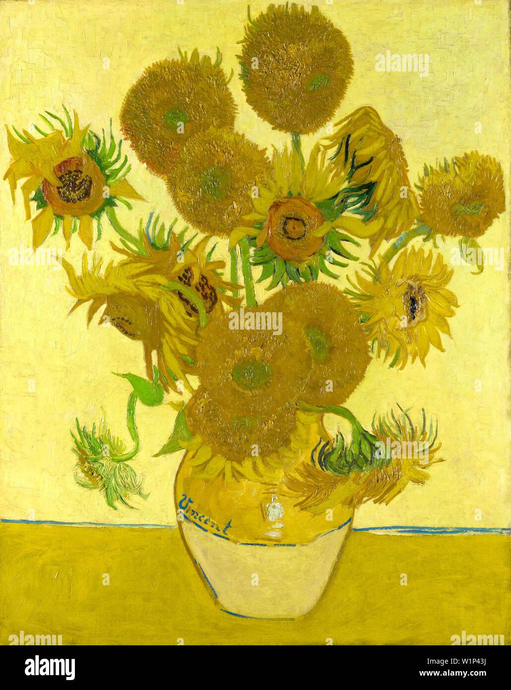 Vincent Van Gogh, los girasoles, el jarrón con catorce Girasoles, bodegón pintura, 1888 Imagen De Stock