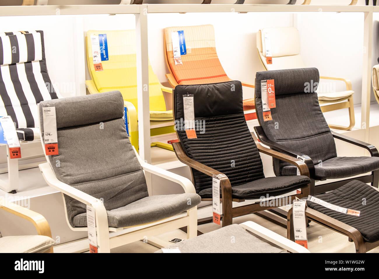Tienda De Sillones.Lodz Polonia Jan 2019 Exposicion Interior Tienda Ikea