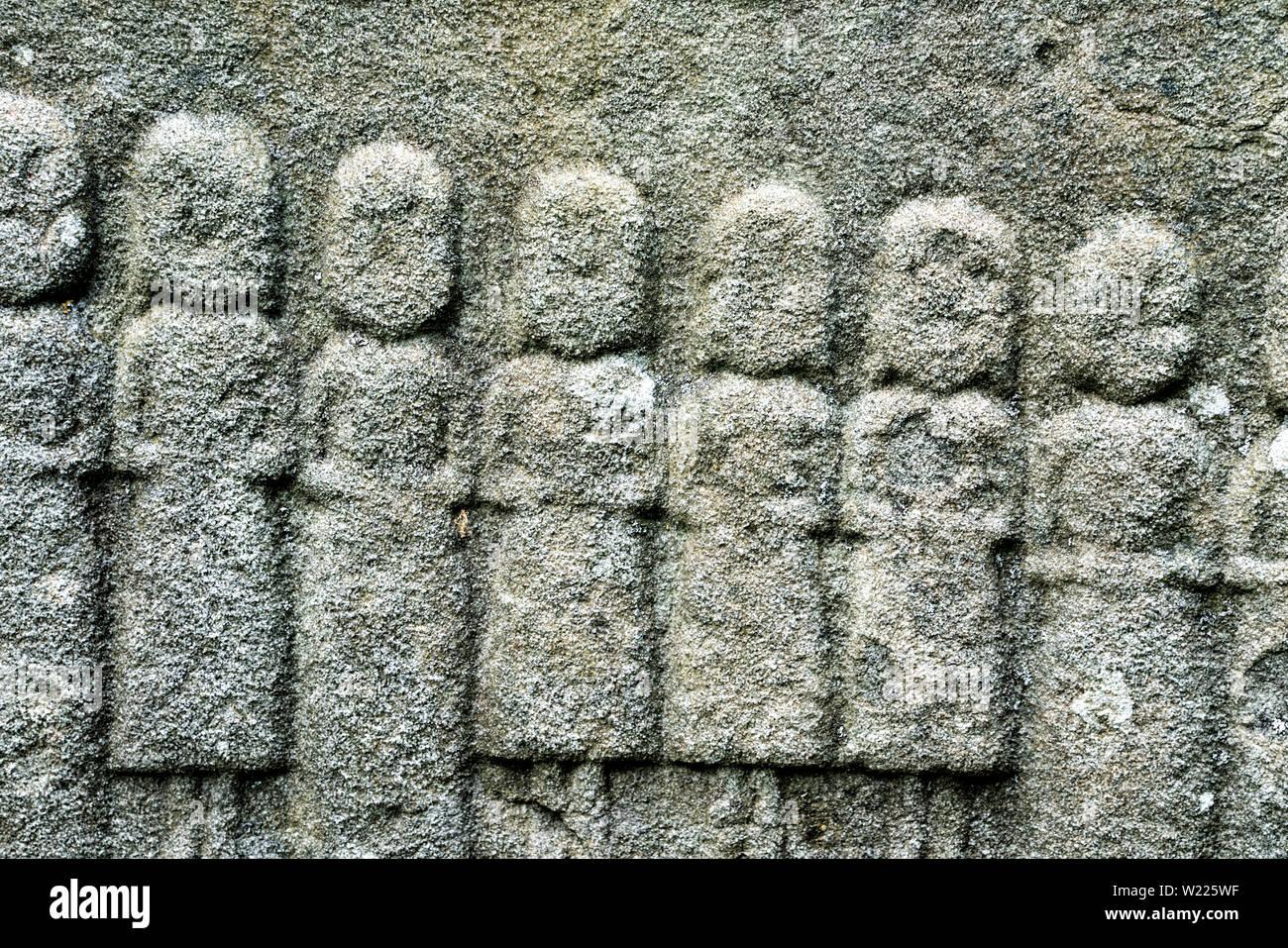 Detalles de una antigua lápida, antigua iglesia parroquial de Protestantes, distrito Werra-Meissner Abterode, Hesse, Alemania, Europa Foto de stock