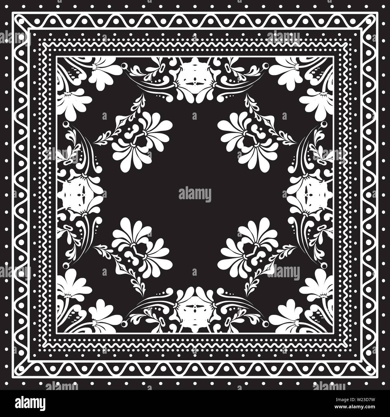 a6833dfe Bandana de impresión en blanco y negro con bordes de diseño de moda ...