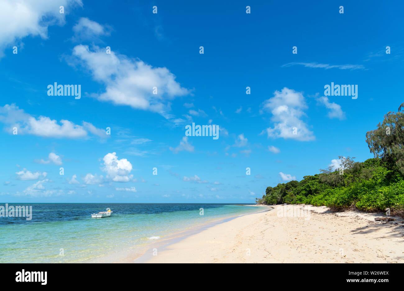 Playa de Isla Verde, un coral cay en el Parque Marino de la Gran Barrera de Coral, Queensland, Australia Foto de stock
