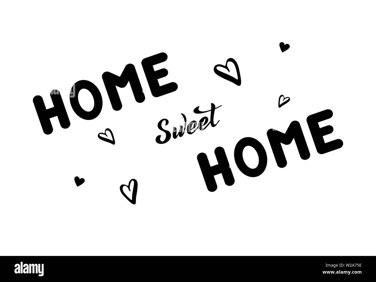 Ilustración Vectorial Con Frase Manuscrita Home Sweet Home