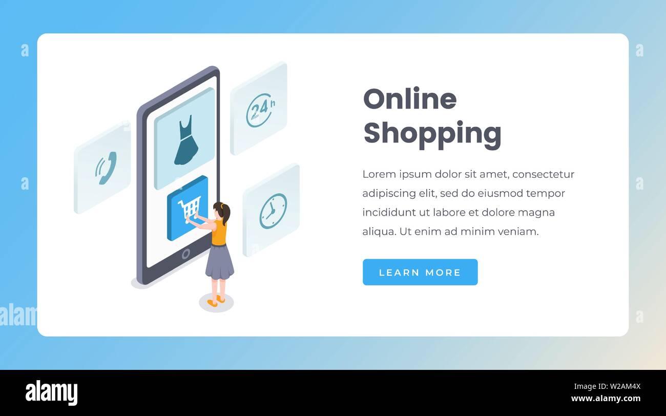 100% Calidad estilo clásico de 2019 productos de calidad Compras en línea isométrica landing page plantilla vectorial ...
