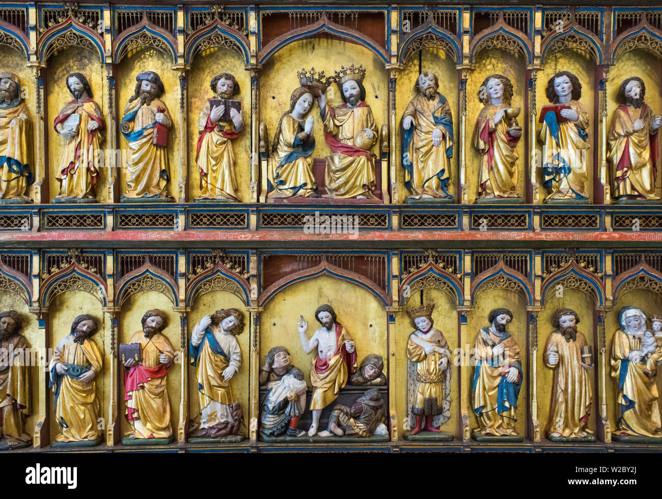 Dinamarca, Zelanda, Copenhague, El Museo Nacional, el cristiano del siglo xiv altar detalle Foto de stock