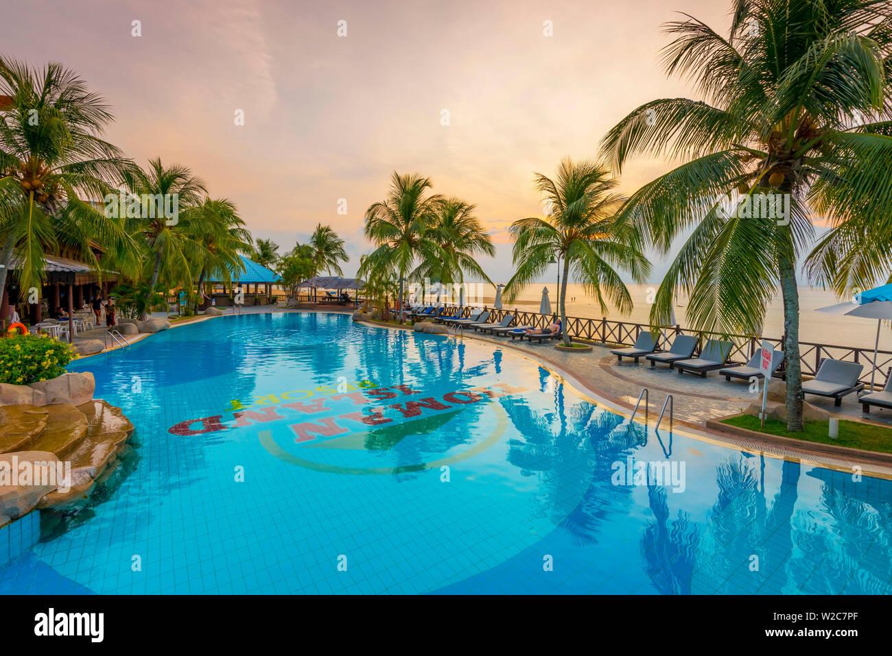 Malasia, Pahang, Pulau Tioman (la isla de Tioman), el Berjaya Berjaya Tioman Beach Resort, Piscina Foto de stock