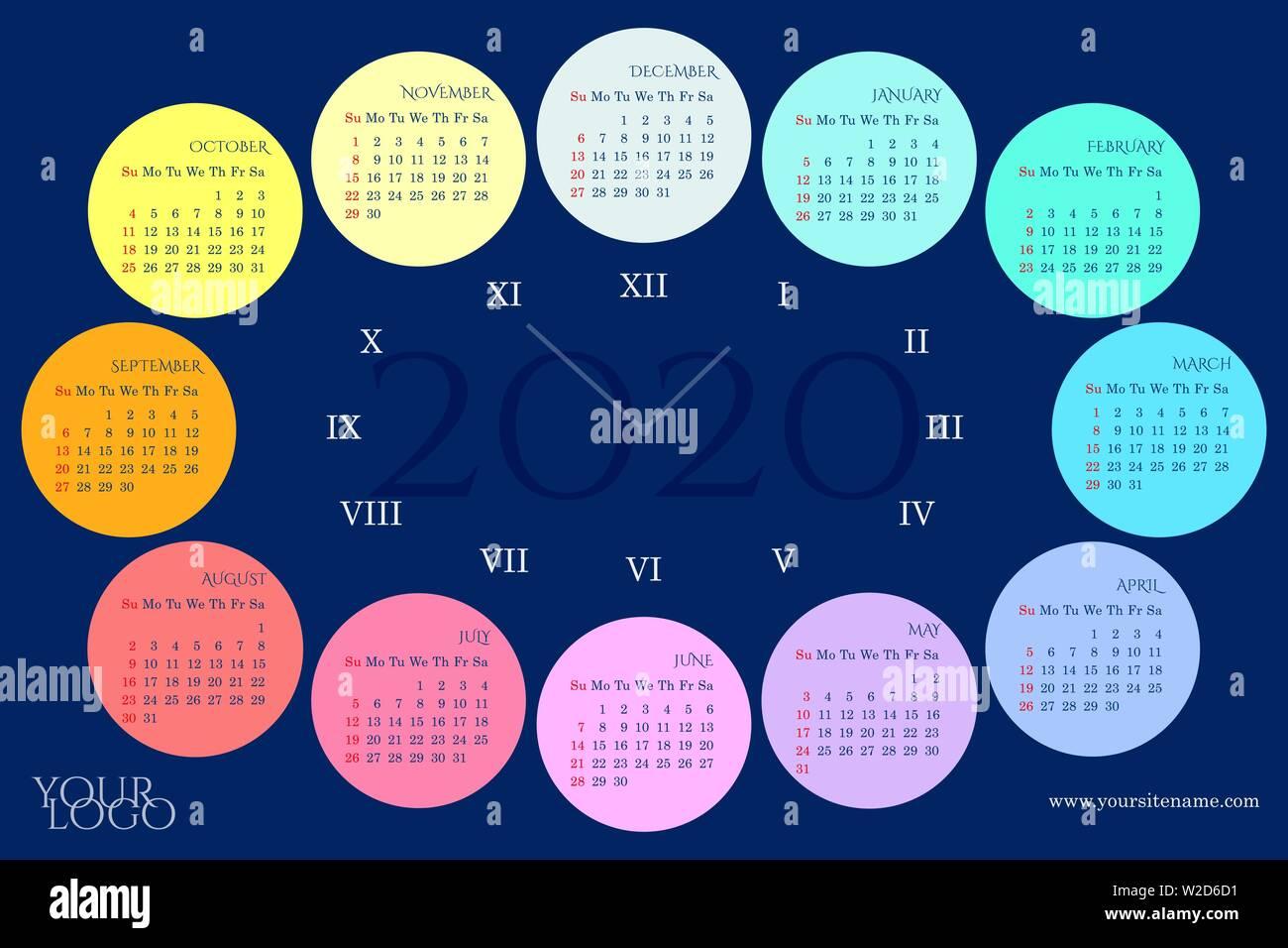 Calendario Rainbow.Calendario De Pared De 2020 En Forma De Un Cuadrante Con