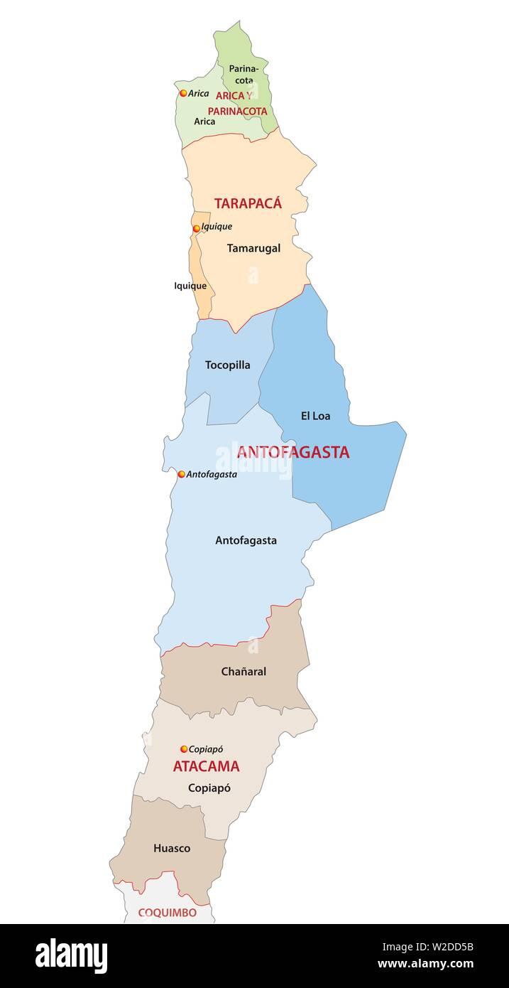 Mapa Politico De Chile.Mapa Politico Y Administrativo De Las Regiones Del Norte De