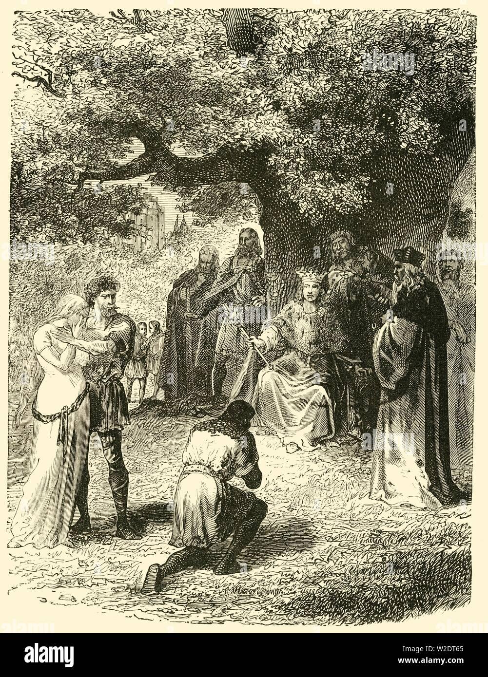 """""""Luis IX, impartir justicia en el Bosque de Vincennes', (siglo XIII), 1890. Creador: Desconocido. Foto de stock"""