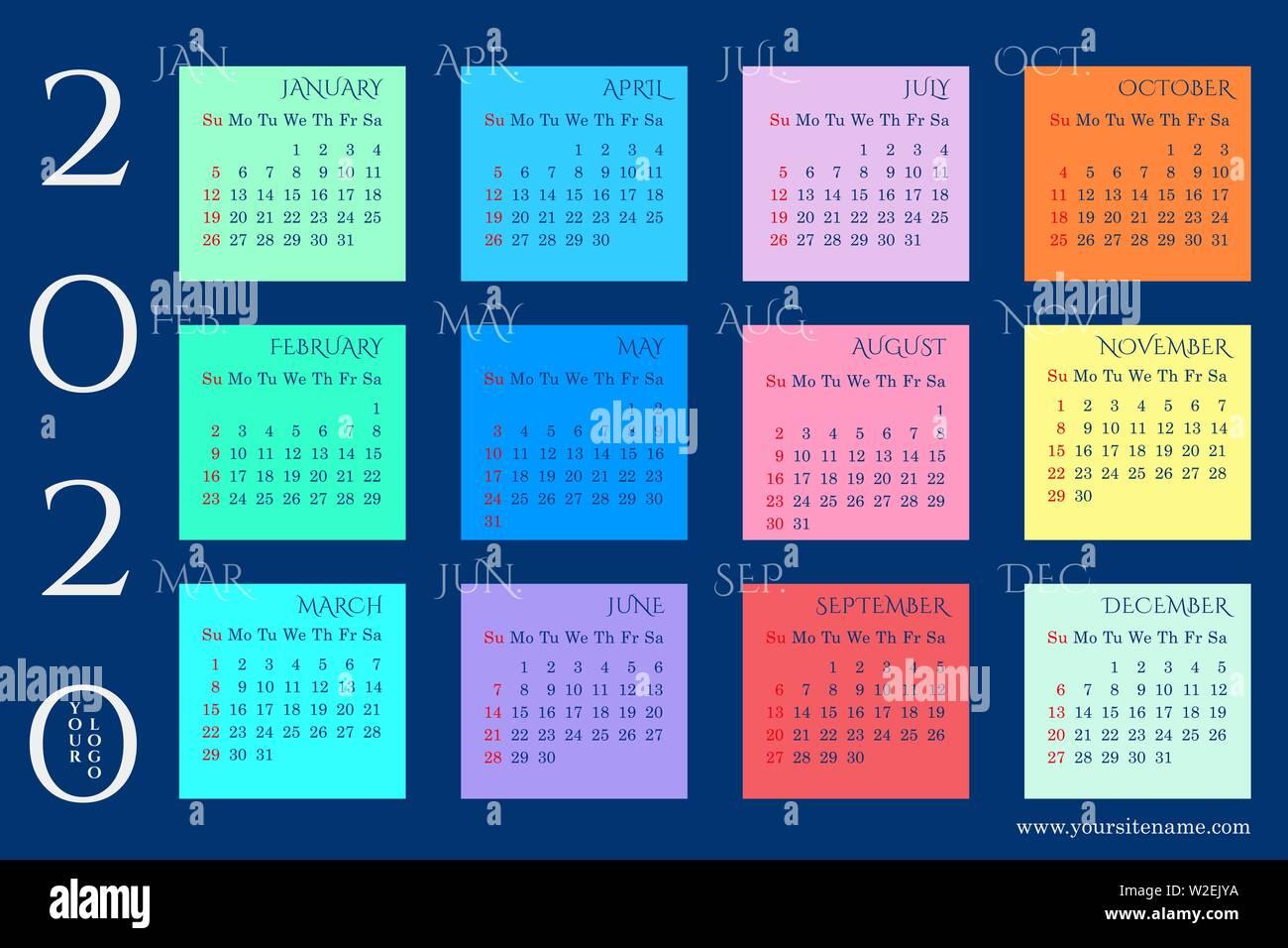 Calendario Rainbow.Rainbow Calendario De Pared De 2020 Con Bloques De Meses