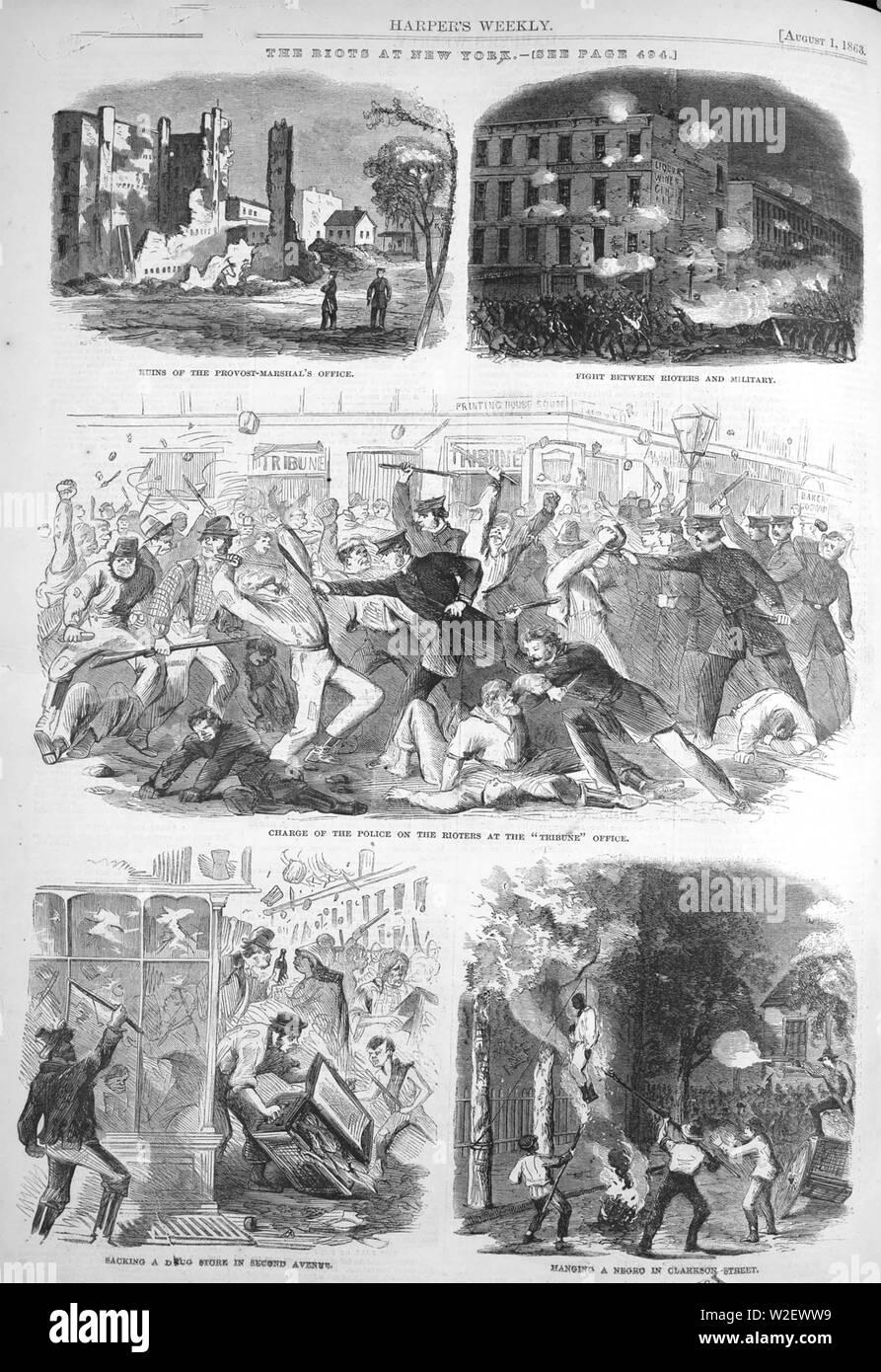 Los disturbios de Nueva York del 13 al 16 de julio de 1863 en respuesta a las leyes para el proyecto de los hombres en el ejército de la Unión durante la Guerra Civil Foto de stock