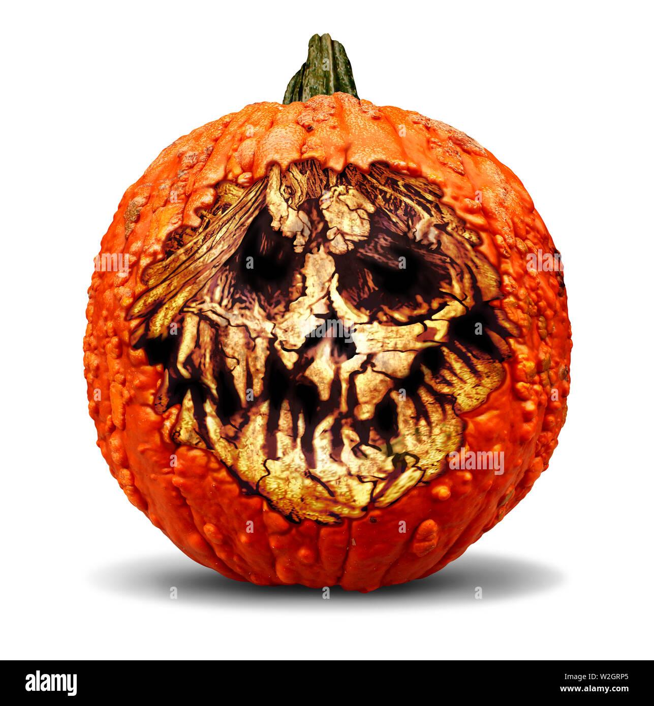Creepy Halloween jack o lantern calabaza tallado con una expresión de miedo el mal de la muerte y el horror en un estilo de ilustración 3D. Foto de stock