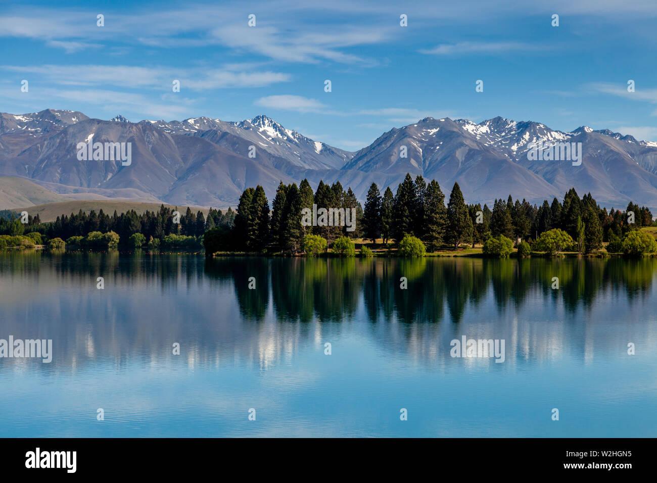 Lago Ruataniwha, Twizel, Isla del Sur, Nueva Zelanda Foto de stock