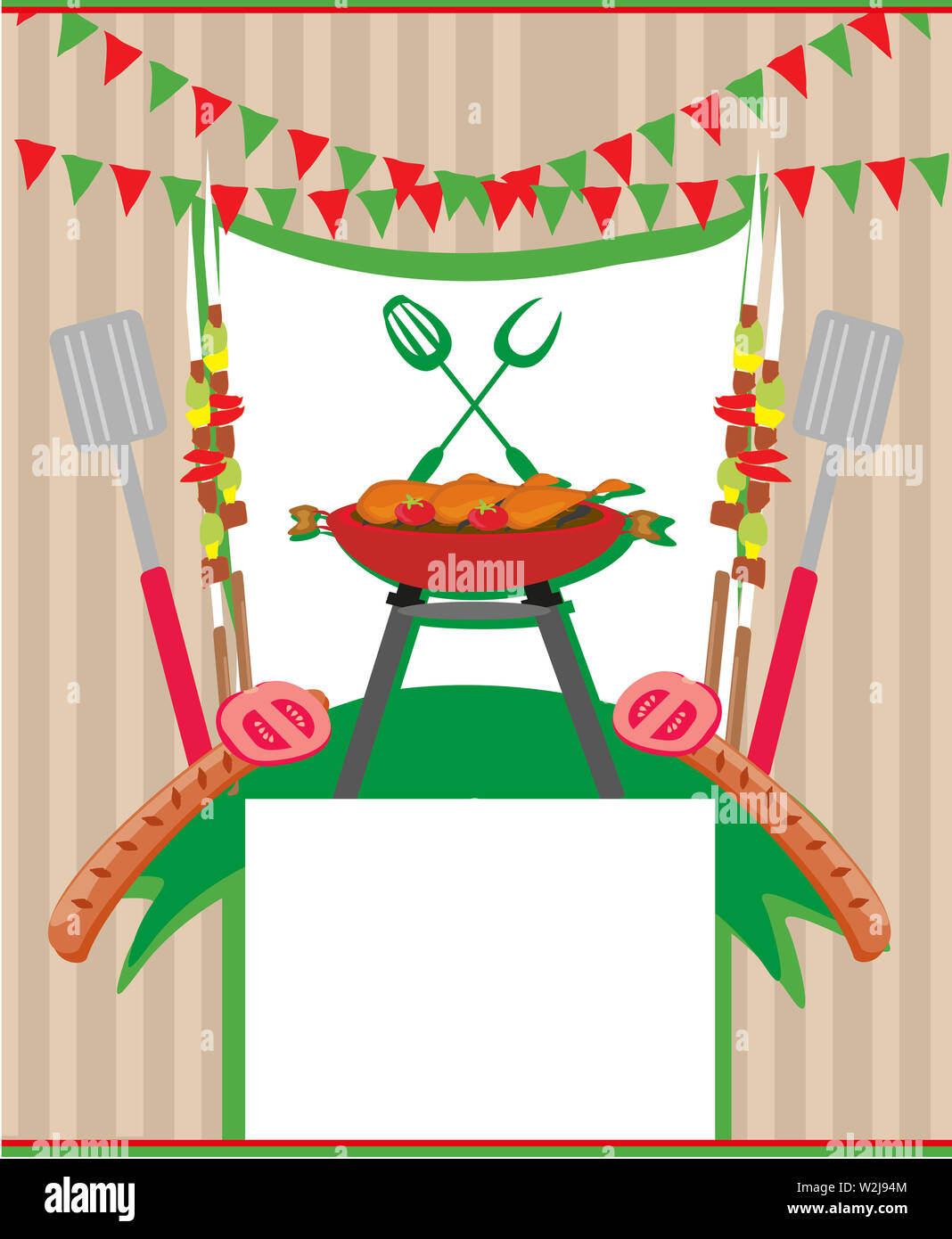 Parrillada Menú Invitación Tarjeta Foto Imagen De Stock