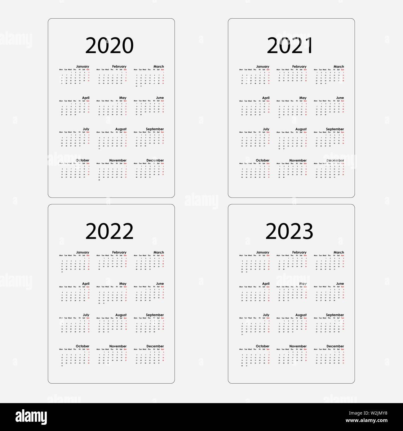 Calendario 2020, 2021,2022 y 2023 Calendar Template.design