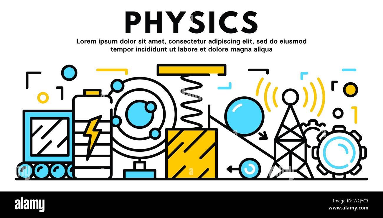 Banner de física, el estilo de esquema Imagen Vector de stock - Alamy