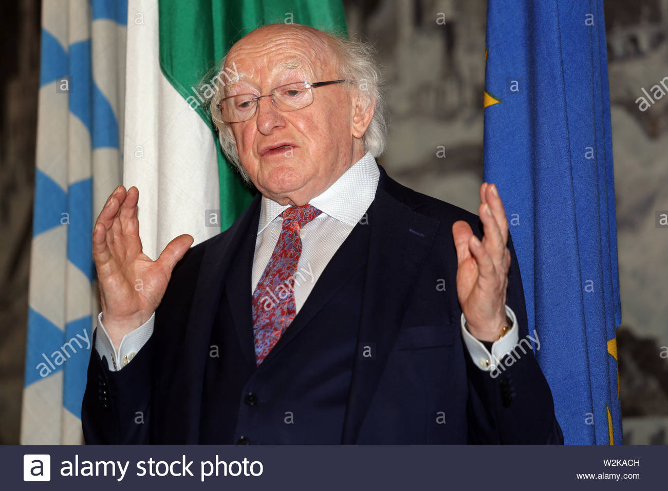 El Presidente de Irlanda, Michael D. Higgins, visitas Würzburg como parte de Brexit tácticas para aumentar la cercanía alemán irlandés. Imagen De Stock