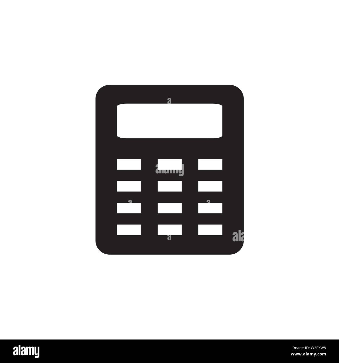 Icono calculadora en estilo plano Vector para aplicaciones, interfaz de usuario, sitios Web. Icono negro ilustración vectorial. Imagen De Stock