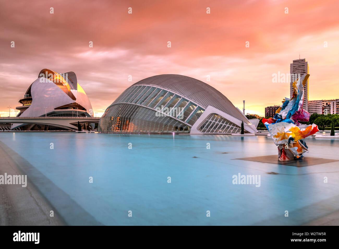 Ciudad de las Artes y las ciencias o la Ciudad de las Artes y las Ciencias, Valencia, Comunidad Valenciana, España Foto de stock