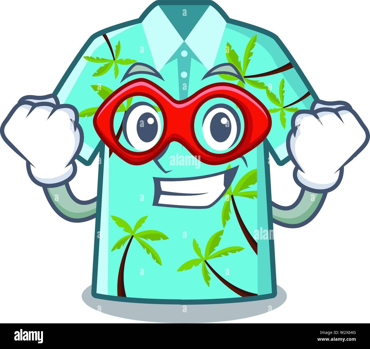 Super Hero camiseta hawaiana en el carácter aislado Ilustración del Vector