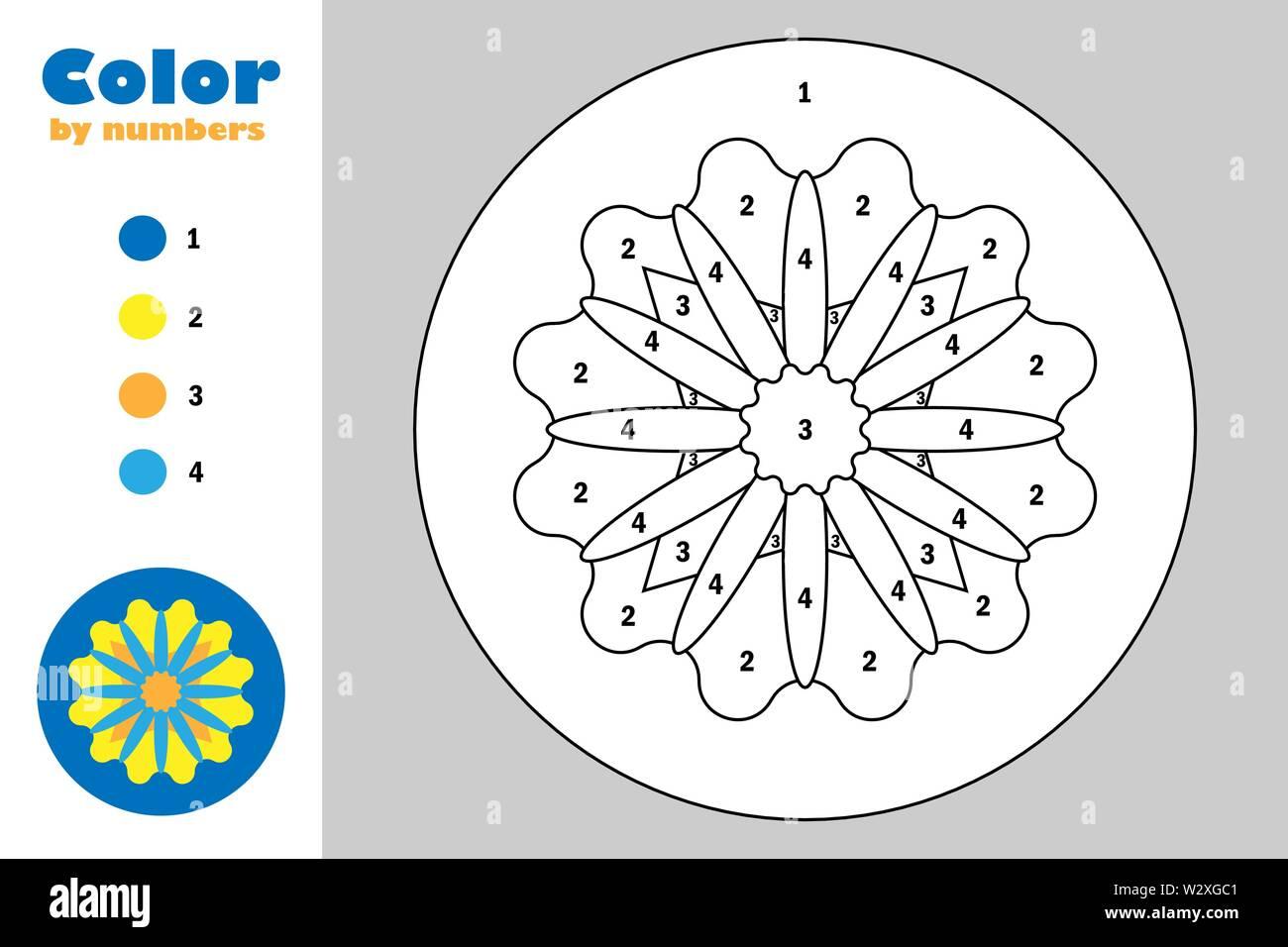 Mandala De Estilo De Dibujos Animados Color Por Numero Papel Del