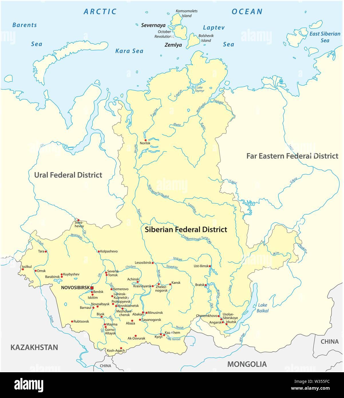 Ciudades De Rusia Mapa.Mapa Del Distrito Federal De Siberia Rusa Con Las