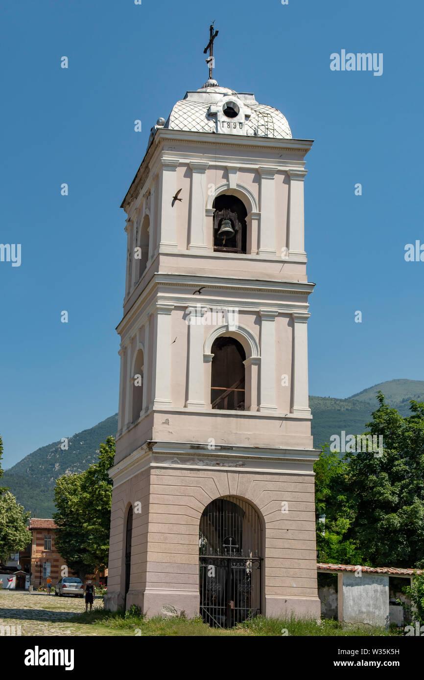 El campanario de la Iglesia de San Nicolás, Karlovo, Bulgaria Foto de stock