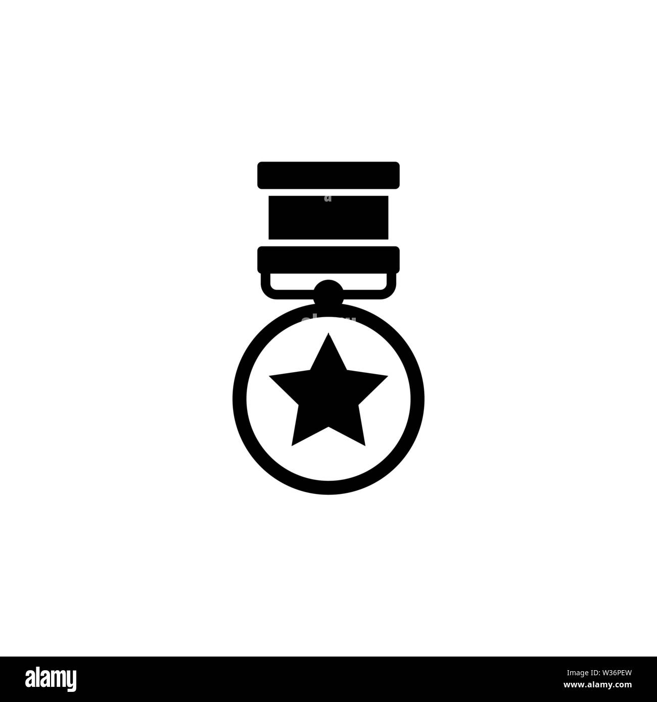 Medalla al Valor. Medalla de Honor. Premio militar de guerra. Icono de Vector plana. Simple símbolo negro sobre fondo blanco. Ilustración del Vector