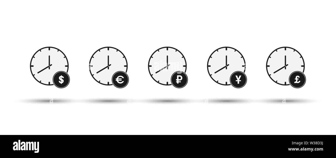 Conjunto de horas con símbolos de moneda. Diseño simple plana Imagen De Stock
