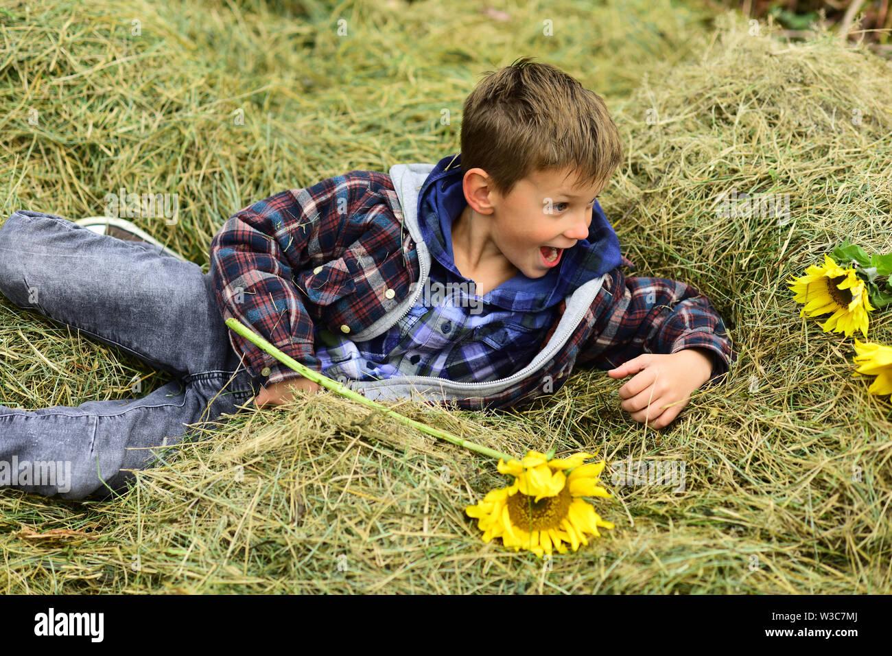 Simplemente relajarse. Relájese en el niño pequeño trastero. Pequeño niño acostado en trastero en el campo. Una forma estupenda de relajarse Foto de stock