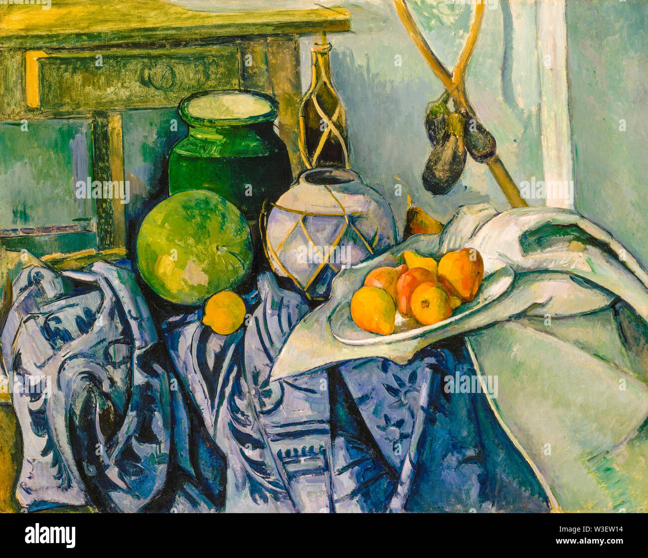 Paul Cézanne, Bodegón con jarra de jengibre y berenjenas, pintura, 1893-1894 Imagen De Stock